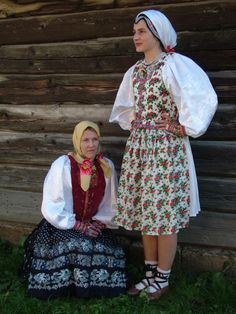 Overview of the costumes of the Lemkos / Rusyns part The west. Folk Costume, Costumes, Traditional Dresses, Ukraine, Folk Clothing, Culture, Lush, People, Twins