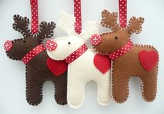 Wonderful DIY Felt Ornaments For Christmas is part of Felt crafts Xmas - If you want to create something interesting and sweet for the Christmas holiday, try these cute Felt Christmas ornaments for your home or give as Felt Christmas Decorations, Felt Christmas Ornaments, Noel Christmas, Homemade Christmas, Christmas Makes, Hanging Decorations, Reindeer Decorations, Reindeer Christmas, Reindeer Games