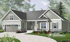 Craftsman Style Ranch House Plans Like the looks of the exterior Craftsman Ranch, Craftsman Style House Plans, Ranch House Plans, Craftsman Style Exterior, Modern Craftsman, Style At Home, Canadian House, Basement House Plans, Walkout Basement