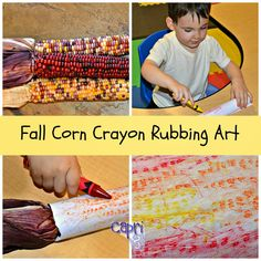 If you saw my post about the Alphabet Letter Sounds Obstacle Course, you know I am now doing a home preschool. One of the Fall art activities I did with the kids was corn crayon rubbings.  I rememb…
