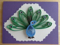 Quilled Peacock Card by Karen Miniaci. Quilling Supplies from 'Quilled Creations'