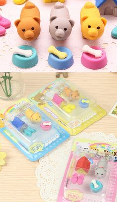 Puppy and kennel Iwako eraser set