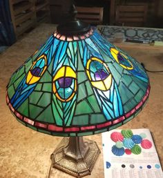 Peacock Lamp - Light Up Our Gallery Entry - Delphi Artist Gallery Stained Glass Lamps, Stained Glass Projects, Glass Etching, Etched Glass, Artist Gallery, Lamp Light, Glass Art, Glass Lanterns, Mosaic