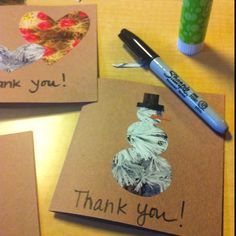 "Homemade winter ""Thank You"" cards made from magazine cutouts"