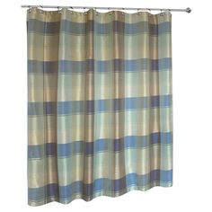 Found it at Wayfair - Plaid Shower Curtain in Blue