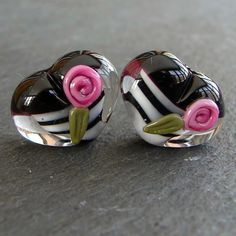Lampwork beads 1167 Hearts Pair 2 Black White and by beadgoodies, $10.00