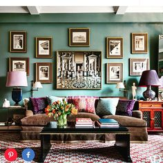 @alexahamptoninc I really like this wall color. And the colorful lamps. And the custom shades. And the rug. And on and on and on. : @archdigest #paint #alexahampton #mixitup #grandtour #exoticdetails #pileonthepillows