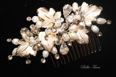 gold champagne bridal hair comb, wedding crystal hair comb,  champagne wedding ivory comb, gold wedding hair accessory, bridal comb by BellaTiaraLLC on Etsy https://www.etsy.com/listing/249439786/gold-champagne-bridal-hair-comb-wedding