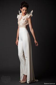 krikor jabotian bridal fall winter 2014 2015 amal sleeveless top structured embellishment pant skirt