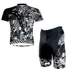 Stoere Heren wielerkleding set van Primal Wear met Short en shirt in perfect zwart witte kleurstelling met leuke details als set met korting