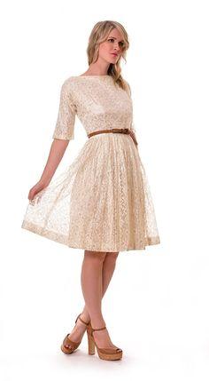 1950s White Silver Lace Dress   Damsel Vintage