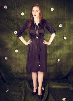 Jet Black Stonewash Wraparound Dress