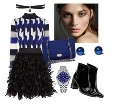 """""""Blackblue style"""" by affifa-wibowo on Polyvore featuring Alice + Olivia, Yves Saint Laurent, Burberry, Chanel, Rolex and Fallon"""