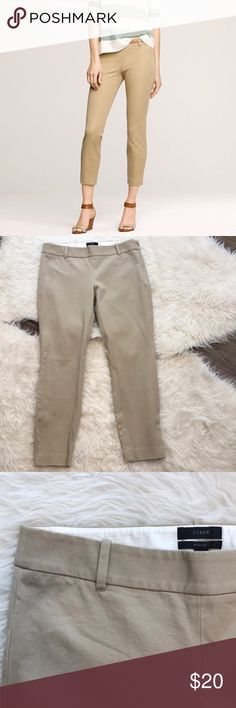 """J. Crew Minnie Pant in British Khaki J. Crew stretch twill Minnie pant in excellent condition. Versatile tan color called British Khaki.  This pant is sleek, slim-fitting, with an exactly-right length leg. Sits just above hip. Fitted through hip & thigh, with a skinny, cropped leg. Cotton with a hint of stretch. Side zip. Belt loops. Back welt pockets.  Rise is about 8.5,"""" inseam is approximately 25,"""" waist is about 31."""" 95% cotton, 5% spandex.  Size 4. J. Crew Pants Ankle & Cropped"""