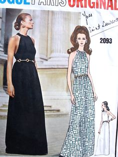 1960s YVES SAINT LAURENT Evening Gown Pattern VOGUE Paris Original 2093 YSL Halter Style Bodice Floor Length Maxi Dress Bust 36 Vintage Sewing Pattern