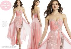 Camille La Vie Sequin Short and Long Prom Dress with Pink and Sparkle