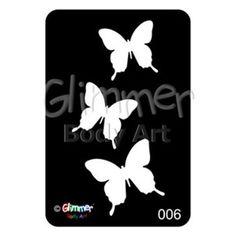 Glimmer Body Art Glitter Tattoo Stencils - Butterflies (5/pack)