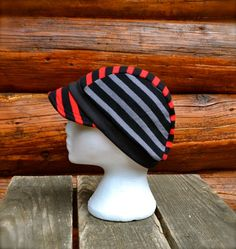 Recycled Cycling Cap Newsboy Hat Unisex Red Black and by MyOlyGirl, $35.00