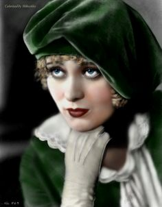 Dolores Costello, b/w photo finger painted on iPad by Miko2660.deviantart.com on @DeviantArt