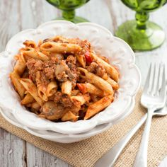 Penne pasta slathered with a hearty sausage and mushroom ragu full of bold flavors and fresh ingredients.