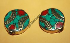 Nepalese Tibetan Brass coral turquoise Beads 2 by goldenlines
