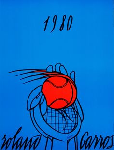 Father's Day gift ideas for the sports fans: an original vintage poster commissioned by the French Open Authority to promote the 1980 French Open