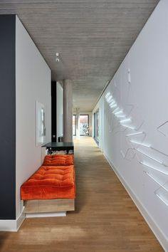 Orange cushions | A Penthouse in Berlin by LecaroliMited (Oskar Kohnen & Fabian Freytag) | Yatzer