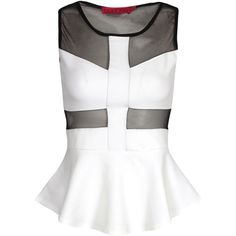 Boohoo Polly Mesh Panel Peplum Top (97 RON) ❤ liked on Polyvore featuring tops, shirts, polyester shirt, mesh panel shirt, flat top, peplum tops and white peplum top