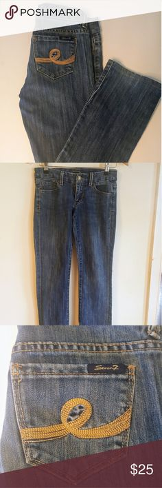 Seven7 boot cut jeans like new! Size 26! These jeans are flawless! In excellent condition! Light/medium washed look. No holes, or fading! They are size 26. Made with 63% Cotton, 35% polyester, and 2 % spandex.   Measurements Waist- 14 inches  Outseam- 35 inches  Inseam- 28 1/2 inches Rise- 7  Backrise- 10 1/2 inches   Thanks for looking, don't forget to bundle! Seven7 Jeans Boot Cut