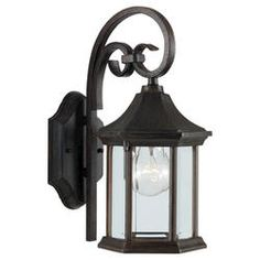 Seagull Lighting 1 Light 13'' Textured Rust Patina Incandescent Outdoor Wall Lantern with Clear BeveledGlass