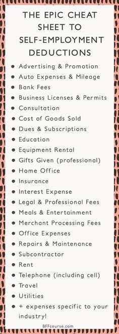 Tax Deductions | Write Offs| Self Employed| Entrepreneur| Creative Entrepreneur