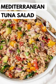 Healthy Mediterranean Tuna Salad (No Mayo) is the perfect 5 minute lunch or dinner recipe! Gluten free, grain free, low carb, paleo, Whole30 and keto, this easy no mayo tuna recipe is the perfect way to switch up your normal tuna salad! Serve it over salad, in a lettuce wrap, or on sweet potato toast for the perfect simple meal!