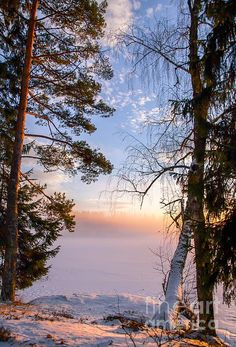 Winter in Norway. Sunset
