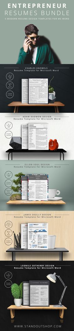 Entrepreneur Resume Collection for Microsoft Word. Download 5 modern clean and professional resume templates and stand out in your job search!