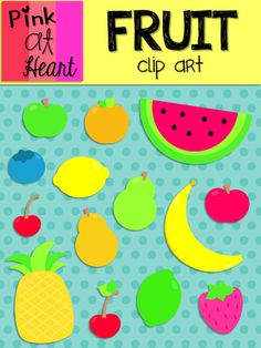 Fruit Clip Art from kac2877 from kac2877 on TeachersNotebook.com (18 pages)  - 14 png bright and colorful Fruit images!