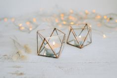 Glass candle holder with mirror base - Wedding Candle holder - Candle holder - Geometric terrarium - wedding ring box - Candleholders set - Hochzeitsdekoration - Geometric Decor Geometric Candle Holder, Geometric Box, Geometric Decor, Geometric Wedding, Geometric Shapes, Candle Holders Wedding, Tealight Candle Holders, Glass Candle Holders, Tea Light Candles