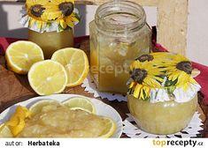 citrónová marmeláda Camembert Cheese, Dairy, Menu, Pudding, Desserts, Food, Lemon, Menu Board Design, Tailgate Desserts