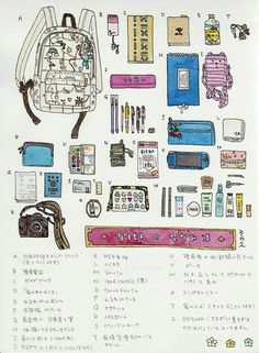 In love with Japan Backpack Drawing, Drawing Bag, School Survival Kits, School Kit, Girly Drawings, Art Drawings Sketches, Aesthetic Drawing, Aesthetic Art, What's In My Backpack