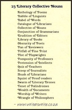 Literary collective nouns. An obscurity of poets. lol.