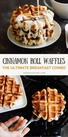 Breakfast Waffles, Breakfast Dishes, Breakfast Recipes, Easy Waffle Recipe, Waffle Maker Recipes, Cinnamon Bun Waffles, Cinnamon Rolls, Cinnamon Recipes, Baking Recipes