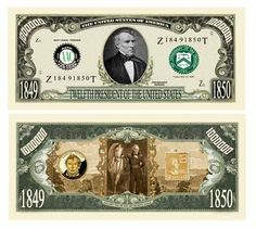 SET OF 5 BILLS-ZACHARY TAYLOR MILLION DOLLAR BILL by Novelties Wholesale. $3.99. The twelfth in our very special Presidents Series. Excellent classroom keepsake and educational aid. Great care and attention to detail makes this bill a high quality, collectible.