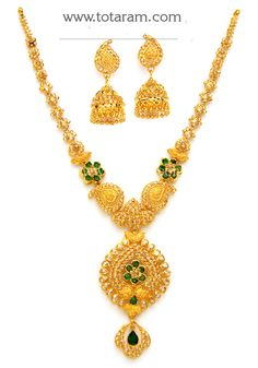 <br /> 22 Karat Gold Necklace & Long Earrings Set with Uncut Diamonds , Emeralds <br /> Gross Gold Weight : grams <br /> Screw Type : Bombay Screw <br /> Gross Weight of Ne Diamond Necklace Set, Diamond Jewelry, Gold Jewelry, Gold Necklace, Jewelery, Small Necklace, Diamond Rings, Wedding Jewelry, Indian Gold Jewellery Design