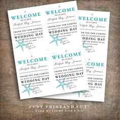 Beach welcome bag tags for your beach wedding welcome bags, hotel, out of town, and destination wedding guest welcome bags. Tie these pretty tags to your welcome bag and let your guests know how much you appreciate them!  Each tag says Welcome across the top in bold letters, followed by the date and location of your wedding. The message, Thank you for coming to help us celebrate our wedding day - it means the world to us to have you here! is used, or you may change the message to one of your…