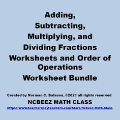 Operations With Fractions, Order Of Operations, Math Activities, Teaching Resources, Classroom Resources, Math Lesson Plans, Math Lessons, Dividing Fractions, Fractions Worksheets