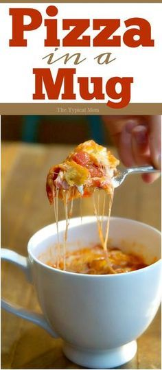 This pizza in a mug recipe is fantastic and so easy to make! This is how you make it in just about 2 minutes and it's totally done! via @thetypicalmom