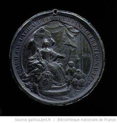 MARIE PAR LA GRACE DE DIEU REINE DE FR. ET DE NAV. 1725 : [ La reine assise sur son trône, portant la couronne et tenant un sceptre. A ses pieds deux maours tiennent, à gauche l'écu de France entouré des colliers des Ordres, à droite deux écus accolés France et Pologné cimés de la couronne royale ]