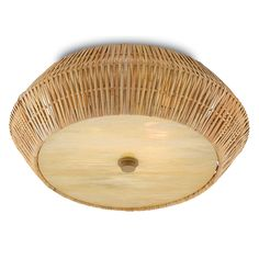 Rattan and Glass Flush Mount Two Lights with GU24 Bulb Type Maximum Wattage: 26/12 Wattage Per Light: 13/6