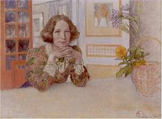 """Carl Larsson """"Anna-Stina Alkman"""" (1905). """"Jag satt min vana trogen och lyssnade med händerna knäppta under hakan och armbågarna stödda mot dalabordets tjocka ekskiva. Carl bad mig sitta kvar medan Karin dukade av bordet. Så tillkom porträttet med endast en timmes sittning. Olja på Duk 46 x 51 cm. Privat ägo."""