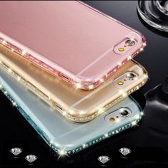 Rhinestone iPhone Case Cover Pink New Classic Transparent Rhinestone Diamond Soft TPU Bling Case Cover For iPhone. Color is pink.  6 or 6 plus Accessories Phone Cases