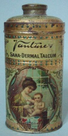 ULTRA-RARE-VANTINES-POWDER-ADVERTISING-TIN-GORGEOUS-GRAPHIC-MOTHER-amp-CHILD-MINT